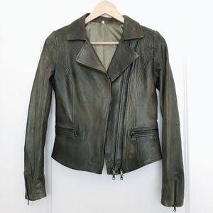 🇮🇹 100% Italian Soft Leather Jacket- Sz XS Olive